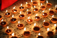 Traditional oil lamps on diwali Royalty Free Stock Photo
