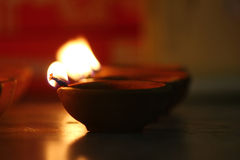 Traditional oil lamps lit on the occasion of Diwali festival Stock Images