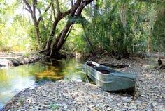 Traditional Okavango Delta mokoro canoe. Royalty Free Stock Image