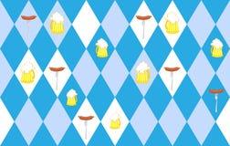 Traditional Oktoberfest seamless pattern of rhombus. Mug of beer Royalty Free Stock Photos