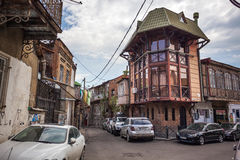 Traditional old balcony of house in Tbilisi. Georgia 07.05.2017 Stock Photography