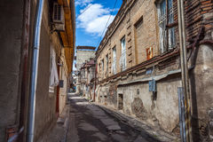 Traditional old balcony of house in Tbilisi. Georgia 07.05.2017 Royalty Free Stock Photography