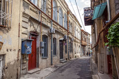 Traditional old balcony of house in Tbilisi. Georgia 07.05.2017 Royalty Free Stock Image