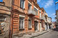 Traditional old balcony of house in Tbilisi. Georgia 07.05.2017 Stock Image