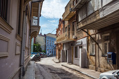 Traditional old balcony of house in Tbilisi. Georgia 07.05.2017 Royalty Free Stock Images
