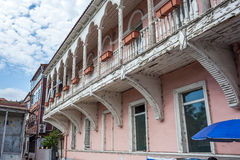 Traditional old balcony of house in Tbilisi. Georgia 07.05.2017 Royalty Free Stock Photos