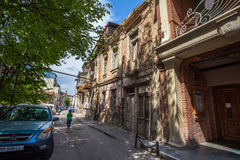 Traditional old balcony of house in Tbilisi. Georgia 07.05.2017 Stock Images