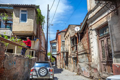 Traditional old balcony of house in Tbilisi. Georgia 07.05.2017 Royalty Free Stock Photo