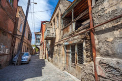 Traditional old balcony of house in Tbilisi. Georgia 07.05.2017 Stock Photos