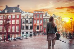 Traditional old buildings in Amsterdam royalty free stock photo