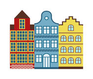 Traditional old buildings Amsterdam house netherlands architecture traditional travel vector. Stock Photography