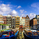 Traditional old buildings in Amsterdam, the Netherlands Stock Photos