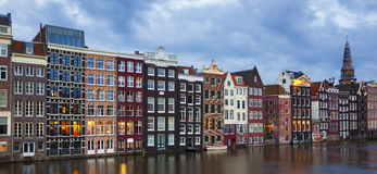 Traditional old buildings in Amsterdam. Panoramic view of traditional old buildings in Amsterdam Stock Photo
