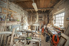 Traditional old carpenter workshop interior Royalty Free Stock Photo