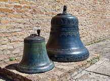 Traditional old church bells in Narva citadel , Estonia . Stock Photo