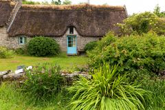 Traditional old cottage in Brittany stock photos