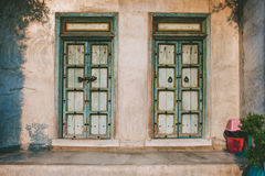 Traditional old door on home wall Stock Image