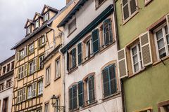 Traditional old European buildings with half-timbered constructions royalty free stock images