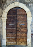 Traditional old european facade with entance door Royalty Free Stock Images