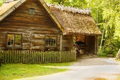 Traditional farmhouse in Sweden. Traditional old farmhouse at Skansen park, the first open-air museum and zoo, located on the island Djurgarden Stock Photo