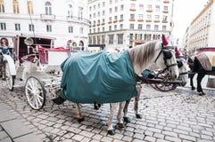 Traditional old-fashioned fiacres at  Michaelerplatz near Hofburg of Vienna, Austria. Royalty Free Stock Photography
