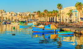 Traditional old fishing village Marsaxlokk in Malta. At sunrise Royalty Free Stock Photo
