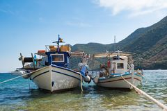 Traditional Old Greek Fishing Boats Stock Photo