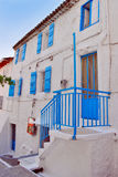 Old greek house. Traditional old greek house with blue windows Royalty Free Stock Image