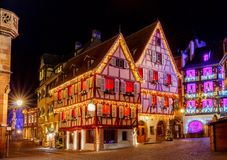 French city Colmar on Christmas Eve. stock photos
