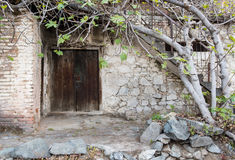 Traditional old  house exterior. Traditional house exterior courtyard village of Palaichori  in Cyprus Royalty Free Stock Photos