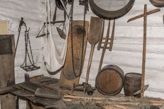 Medieval house garden tools stock images