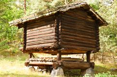 Old wooden house. Traditional old house at Skansen, the first open-air museum and zoo, located on the island Djurgarden in Stockholm, Sweden Royalty Free Stock Image