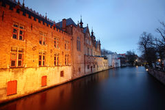 Traditional houses reflected in the water canals from Bruges (Brugge) - Belgium. Royalty Free Stock Images