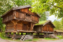 Traditional old houses in Oslo. Traditional old wooden houses in Oslo, Norway Stock Photo