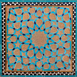 Traditional Old Islamic Design made of Brown Clay and Blue Tiles in Yazd Stock Image