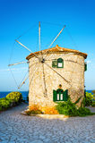 Traditional old lovely stone windmill on Zakynthos island. Greece Royalty Free Stock Images