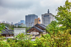 Traditional old and modern korean houses cityscape Stock Photo