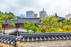 Traditional old and modern korean houses cityscape Royalty Free Stock Images