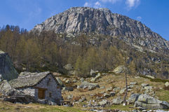 Traditional old montain chalet. A traditional old chalet make in stone in a mountain landscape Royalty Free Stock Image