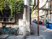 Traditional old neighborhood in Tianjin. Tianjin, China - September 2017: Traditional neighborhood with old houses in the french concession in the city center of royalty free stock photos