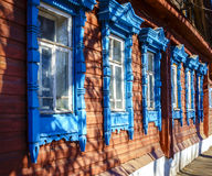 Traditional old Russian house facade Royalty Free Stock Image