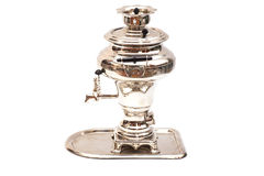 Traditional old Russian samovar with Empty Tray Stock Photo