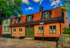 Traditional old scandinavian houses in Sodermalm island of Stock Royalty Free Stock Photos