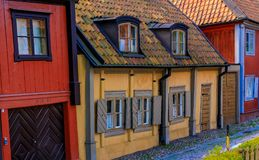 Traditional old scandinavian houses in Sodermalm island of Stock Royalty Free Stock Image