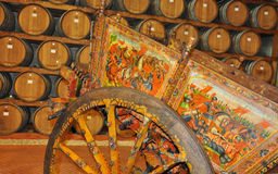 Traditional old Sicilian painted wooden carriage Royalty Free Stock Photos