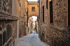 Traditional old Spanish street. Toledo. Royalty Free Stock Images