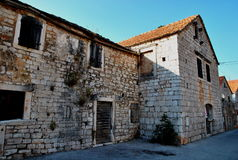 TRADITIONAL OLD STONE  HOUSES. VRBOSKA, HVAR ISLAND Royalty Free Stock Photo