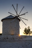 Traditional old stone windmill twilight shot. At Alacati - Cesme - Turkey Stock Photo