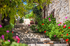 Traditional old street in Lofou village. Limassol District. Cyprus.  Stock Photography