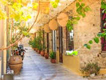 Traditional old style street in Greece. Beautiful traditional old style street in Greece Stock Photography